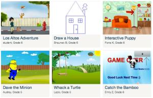 alcuni progetti realizzati e condivisi da alcuni bambini su Tynker